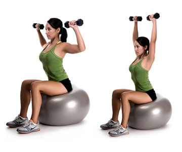 5 shoulder exercises to reduce pain fort worth bone joint clinic while sitting on a ball or chair with dumbbells in each hand position your arms at shoulder level as shown and then press upward to the ceiling publicscrutiny Gallery